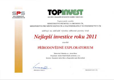 certifikát TOPINVEST 2011