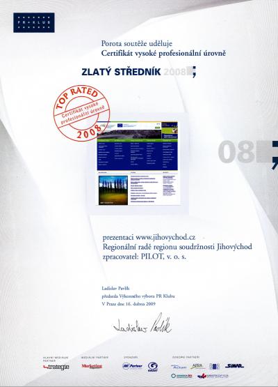 certifikát Zlatý středník