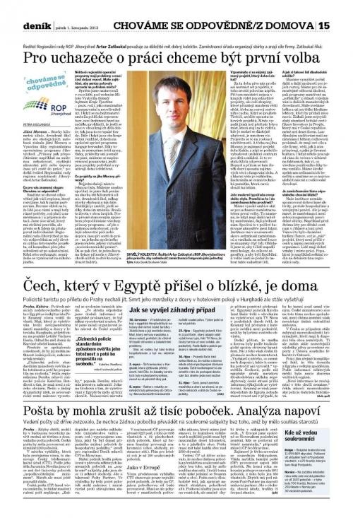 Článek v Deníku 1. 11. 2013